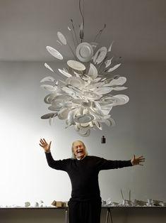 Portrait of Ingo Maurer nexed to his Lightobject Porca Miseria! in 2020 Lighting Concepts, Lighting Design, Cool Lighting, Chandelier Lighting, Chandeliers, Exterior Design, Home Interior Design, Lustre Design, Ingo Maurer