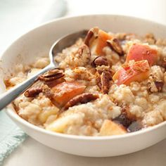 This recipe cooks apple slices within it, allowing them to break down and infuse the grains with bright flavor and texture. Pecans, brown sugar and cinnamon sweeten the deal. #breakfast #food
