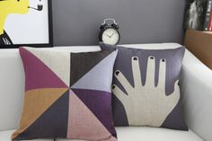 1pc Baumwolle Leinen Handgeometrie Kissenbezug 63 von Minibeebee auf DaWanda.com