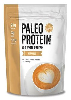 Paleo Protein Powder (Egg White) (Espresso) (2.33lbs) (Soy Free) (100mg Organic Caffeine) w/Monk Fruit *** Read more reviews of the product by visiting the link on the image.