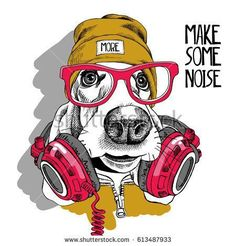 street art - Basset Hound dog in a red glasses, yellow hipster hat and with a headphones on the neck Vector illustration Hipster Hat, Hipster Glasses, Chien Basset Hound, Basset Dog, Dog Portraits, Grafik Design, Animal Paintings, Graffiti Art, Dog Art