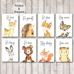 Woodland Animal Quote Nursery Prints Set of Woodland Animal Quote Prints, Gender Neutral Nursery Decor, Woodland Theme Nursery, Animals Woodland Animal Nursery, Tribal Nursery, Woodland Nursery Decor, Woodland Animals, Forest Animals, Woodland Forest, Nursery Decor Boy, Nursery Neutral, Nursery Themes
