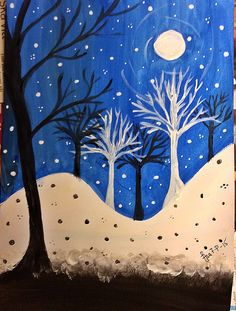 winter silhouette night art painting snow