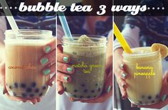 Bubble Tea 3 Ways♡ ... ahhh, and I thought I was just going to use my tapioca for pudding. LOVE this.