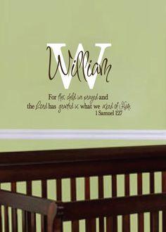 St Samuel  Bible Quote Vinyl Wall Art Decal Stickers Decor - Bible verse nursery wall decals