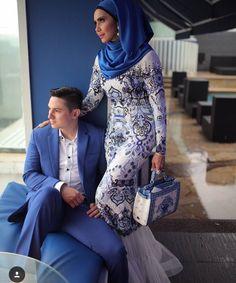 Long dress, prom hijab dress, engagement hijab dress, eid dress, hijab dress, hijab outfit, hijab fashion, long dress hijab, blue long dress, princess dress, event hijab dress. Follow her ig @rozitachewan1