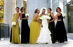 "from essence.com's Bridal Bliss ""Tracey and Bradley"": color blocked evening gowns from Bari Jay worn as bridesmaids dresses"