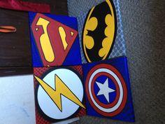 Canvases I made for Super hero room for the boys. #wallart #art #dreamboyroom