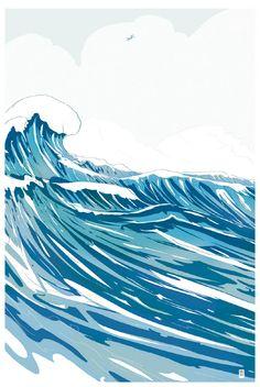 Ocean wave crest vector graphic background | Seasons & Weather ...