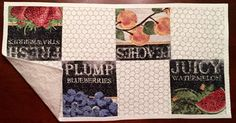 Retro Fruit Seed Packet Table Runner by ThePlaidPiecemaker on Etsy