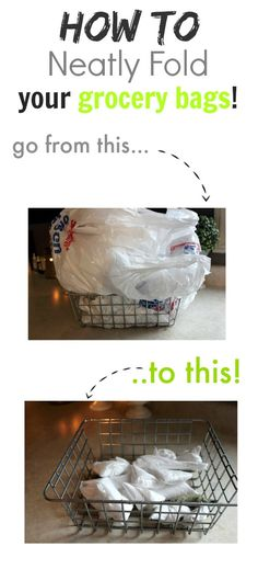 Plastic grocery bags have many great uses around the home but saving all those bags just contributes to the clutter in your cupboards. Well, go ahead and save your bags and say goodbye to that clutter too as I show you how to neatly fold grocery bags. Home Depot, Life Organization, Home Hacks, Getting Organized, Homemaking, Clean House, Housekeeping, Good To Know, Tricks