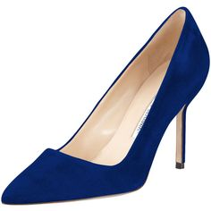 Manolo Blahnik BB Suede 90mm Pump ($595) ❤ liked on Polyvore featuring shoes, pumps, cobalt, shoes pumps classic, suede pointy toe pumps, suede leather shoes, pointy toe shoes, manolo blahnik shoes and cushioned shoes