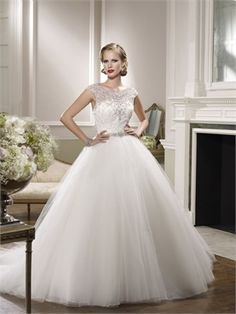 2015 White Ball Gown Sweetheart Beading Sashes Zipper Organza Wedding Dresses Bridal Gowns AWD630039