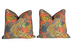 Navy/Persimmon Ming Dragon Pillows, Pair