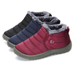 Letter Warm Fur Lining Flat Slip On Ankle Boots For Women