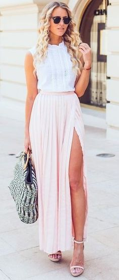 #summer #musthave #outfits | White Top + Blush Split Maxi Skirt