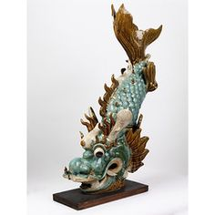 stoneware ridge terminal in the shape of a fish, Shiwan ware, Qing dynasty, ca. Thai Art, Roof Tiles, The V&a, Qing Dynasty, Victoria And Albert Museum, Ancient Art, Creative Inspiration, Cupboard, Stoneware