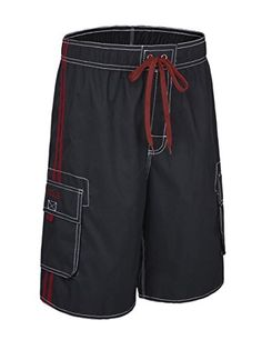 Mens Wolf and Foliage Comfortable Quick Dry Swim Trunks Elastic Drawstring Cargo Shorts with Pocket