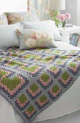 Past Perfect Mitered Granny Throw #crochet
