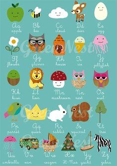 un #abcdario, #alfabeto per imparare con i vostri figli di maniera divertente (•◡•) Tante altre idee cool per le mamme sul sito ❤ mammabanana.com ❤