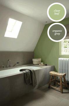 TAUPE+LINDEgroene kleurcombinatie!!!!!!!!! Weer eens wat anders in de badkamer