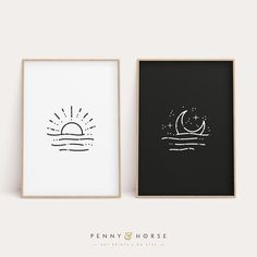 Art ✏️ Use Creativity To Improve Your Home Article Body: It is important that you have a creative im Diy Canvas Art, Diy Wall Art, Art Diy, Simple Wall Art, Painting Canvas, Abstract Illustration, Abstract Art, Moon Print, Sun Moon