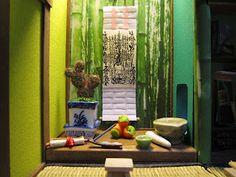 1/20 scale miniature Buddhist Shrine inside a Japanese Ryokan dollhouse