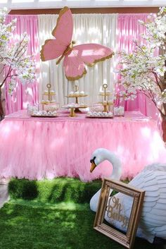 Butterflies and Swans Baby Shower | CatchMyParty.com Butterfly Birthday Party, Butterfly Baby Shower, Girl Birthday Themes, Baby Girl Shower Themes, Girl Baby Shower Decorations, Birthday Party Decorations, Gold Birthday, Birthday Parties, Tea Parties
