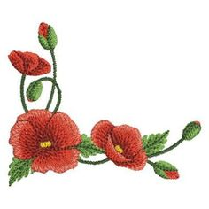 Poppies 2 - 4x4 Ace Points Embroidery