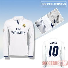 d94b32e7671 Latest Real Madrid White 2016 2017 Home Long Sleeve Soccer Jersey With James  10 Printing Replica