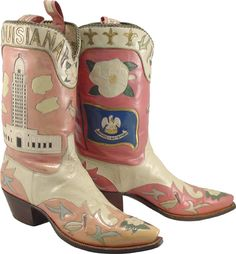 Lucchese Boot Co.  State Boots - Louisiana.   Pink!