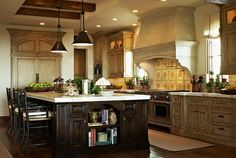 Old World Kitchen... Island Decor And Lighting Above The Island. Fancy  Kitchens