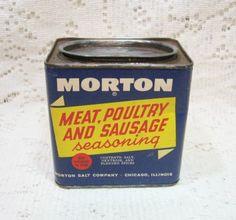 Vtg Morton Meat Poultry Sausage Seasoning Spice Tin Box Container ~ Morton Salt Co ~ Vintage ~ SOLD