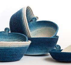 Hand Dyed Indigo Cotton Rope Vessels - GEMMA PATFORD