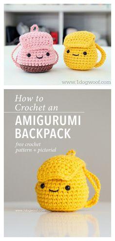 Amigurumi Backpack Free Crochet Pattern #coolcreativityfreepattern #crochetkeychain #crochettoysforkids