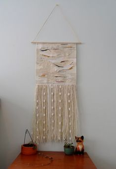 White Hand Woven Hanging Wall Tapestry with crochet ball garland - wall hanging weave, wall hanging yarn Weaving Textiles, Weaving Art, Tapestry Weaving, Loom Weaving, Hanging Tapestry, Wall Tapestry, Hand Weaving, Weaving Wall Hanging, Hanging Art