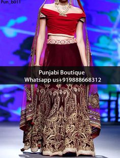 Gorgeous Maroon Heavy Embroidered Bridal Lehenga Product Code: Pun_b011 To order this dress , please call or WhatsApp us at +919888668312 We can design this Bridal Lehenga in any color combination or on any fabric (price may vary according to fabric)