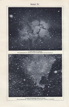 1900 Antique victorian astronomy print, nebulas, galaxy, stars celestial art lithograph