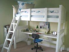 unfinished wood loft bed | Mission Loft bed with optional desk/shelf was purchased unfinished ...