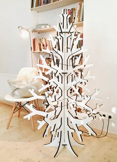 White recycled cardboard laser cut christmas by cardboardchristmas