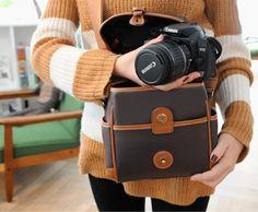 Large Leather Cube Camera Bag