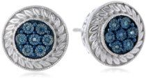 Sterling Silver and Blue Diamond Stud Earrings (0.04cttw-I2-I3 Clarity)