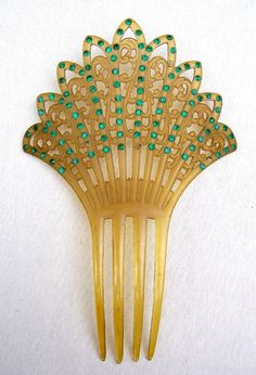 Art Deco celluloid hair comb Spanish comb hair by ElrondsEmporium