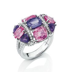 Mellerio Dits Meller. Nosy Be Ring from Collection Privee - 18K grey gold set with a 1.73 carat Cushion Cut violet Sapphire, 2 Cushion Cut pink Sapphires (1.84 & 1.65 ct), 2 Oval Cut pink Sapphires (0.92 & 0.88 ct), 4 Triangle Cut - Amethysts (1.28 ct) and Brilliant Cut - # Diamonds (0.58 ct) - July 2016