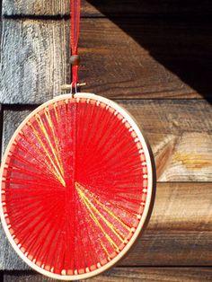 Handmade Red Light Catcher  7 Inch Diameter  Autumn by RunawayCape, $14.50