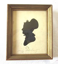 Cut Silhouette Portrait 1800s American Woman Gold Frame Mary Flaharty