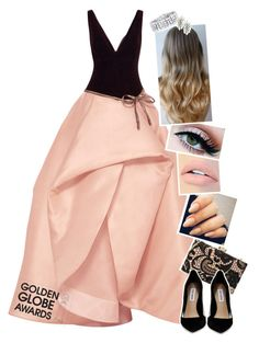"""""""Golden Globe Queen"""" by atra1999 ❤ liked on Polyvore featuring Monique Lhuillier, Love Moschino, Steve Madden, Jouer, GoldenGlobes and goldenglobeawards"""