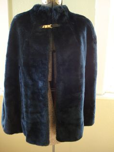 Vintage 1960s Faux Fur Cape Cadet Blue 2013606 by bycinbyhand, $85.00
