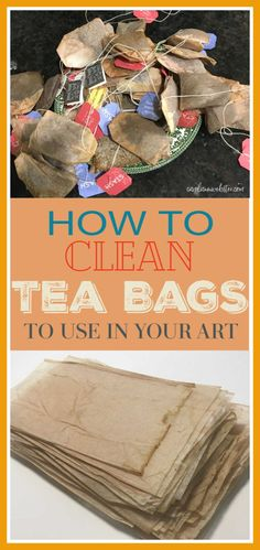 How to clean used tea bags to use in your art I drink a lot of hot tea. It always pained me to throw out the used tea bags. Now I have a good way to use them, as a base for art. Tea Bag Art, Art Bag, Tea Art, Sac D'art, Collage Art, Collages, Tee Kunst, Used Tea Bags, Diy Tea Bags