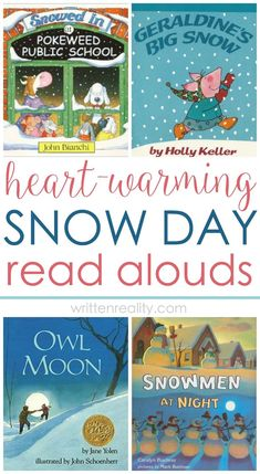 Read Alouds: Here's the perfect list of snow books to share with your kids on a snow day or when waiting for snow. They're also great to use as writing prompts or other lessons, too.